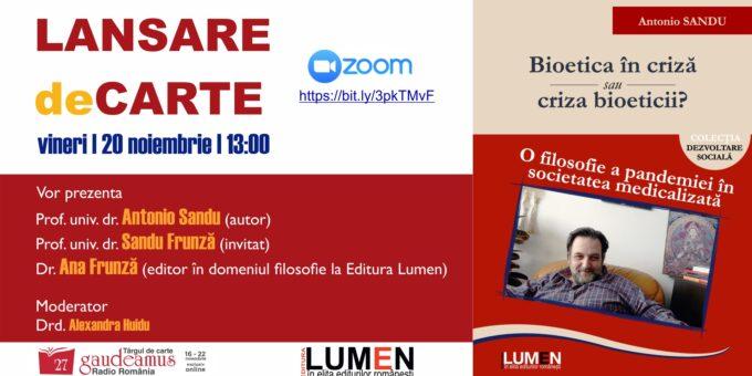 Publica cartea ta la Editura Stiintifica Lumen Gaudeamus Bioetica in criza FB