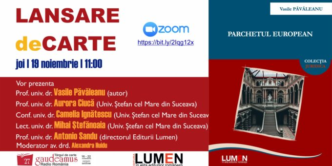 Publica cartea ta la Editura Stiintifica Lumen Gaudeamus Parchetul European PAVALEANU