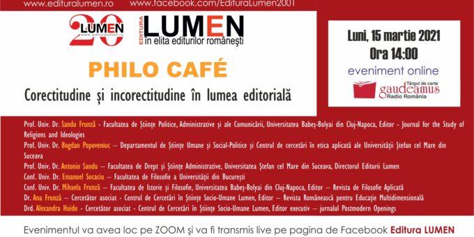 Publica cartea ta la Editura Stiintifica Lumen Philo Cafe Corectitudinea Afis 1