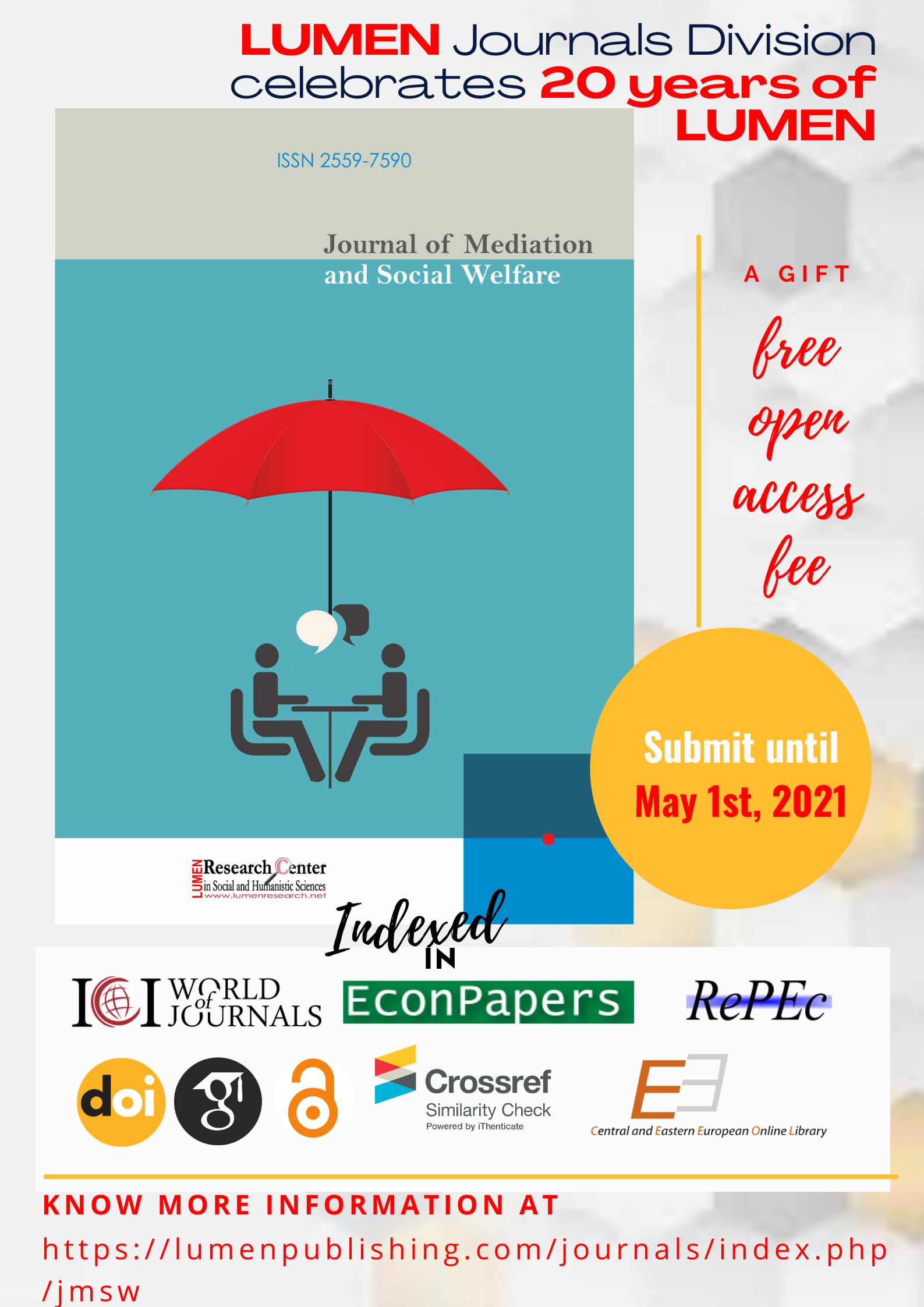 Publish your work with LUMEN May1st ree LUMEN JMSW journals