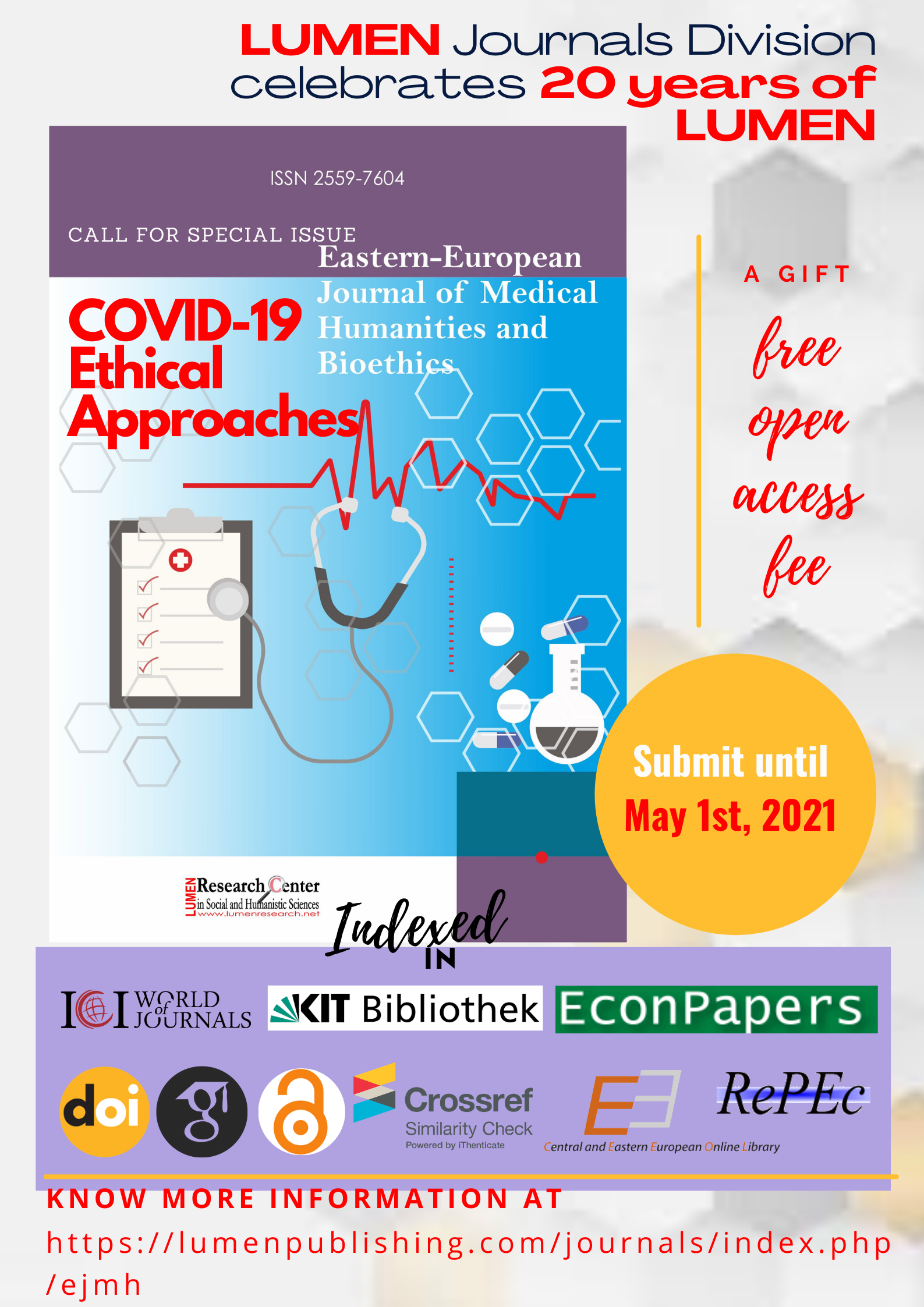 Publish your work with LUMEN May1st free LUMEN EJMHB journals