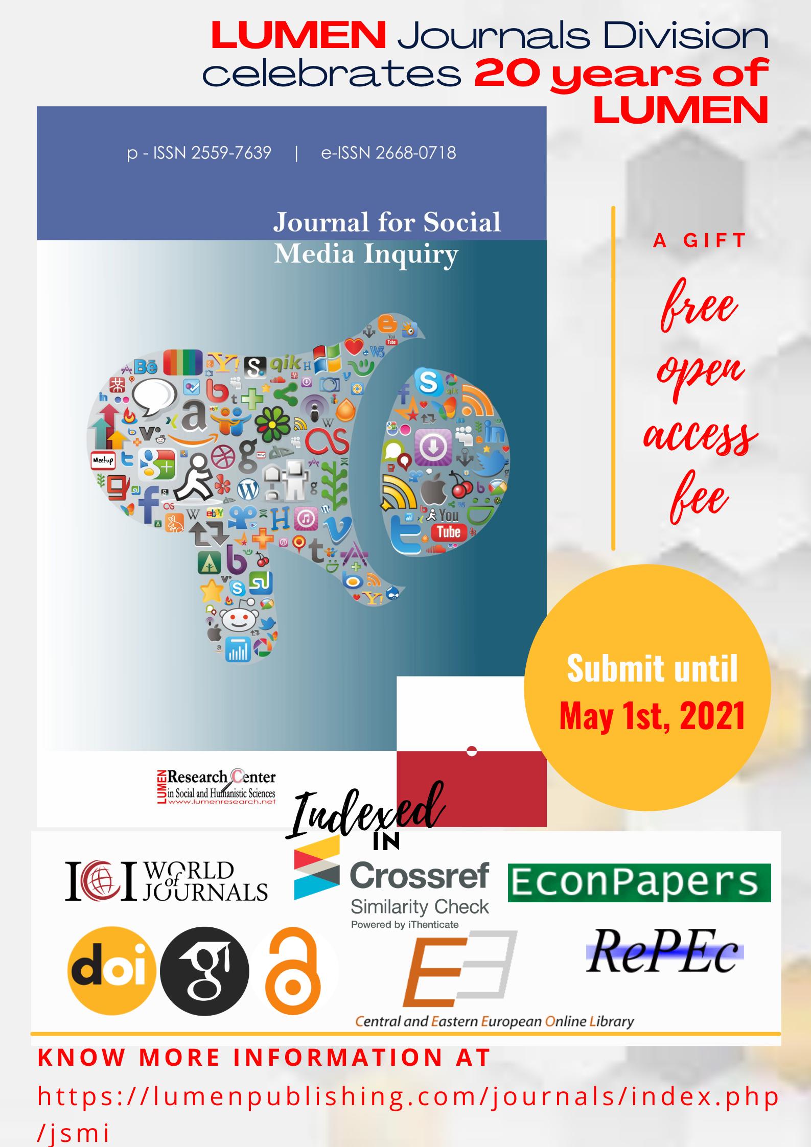 Publish your work with LUMEN May 1st free LUMEN Jsmi journals
